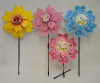 "14"" Double Flower Petal Wind Spinner [Asst Flowers]"